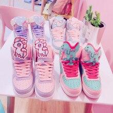 Anime cosplay japanese sweet lolita shoes round head flat heel high help color matching kawaii shoes loli cos women shoes