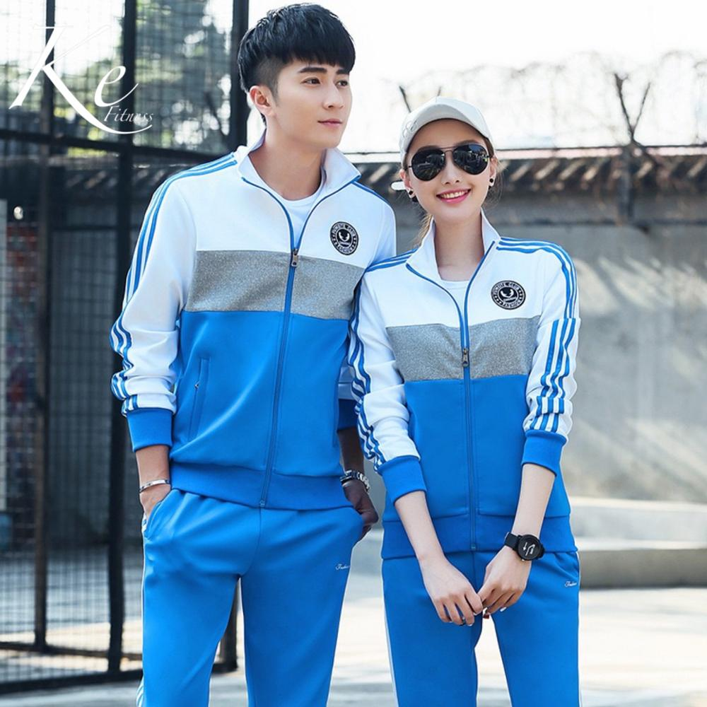 KE Autumn New Couple Sport Set Men And Women School Tracksuit Sport Running Jogging Long Sleeve Two-piece Size Plus Big Extra
