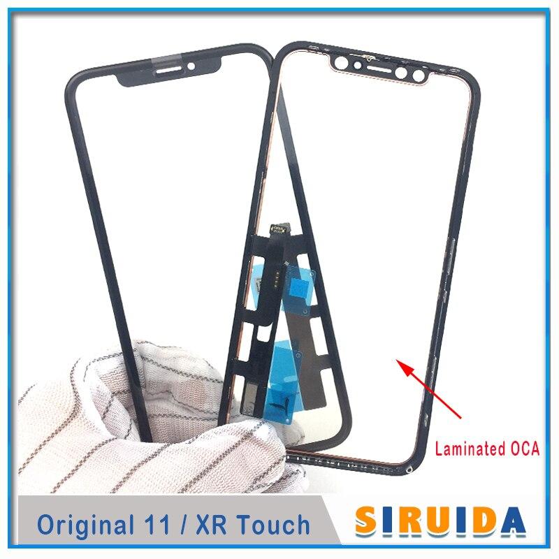 5 шт. 3 в 1 Проверенное Оригинальное Сенсорное ЖК-стекло с дигитайзером и сенсорным датчиком с рамкой + пленка OCA для ремонта экрана iPhone XR 11