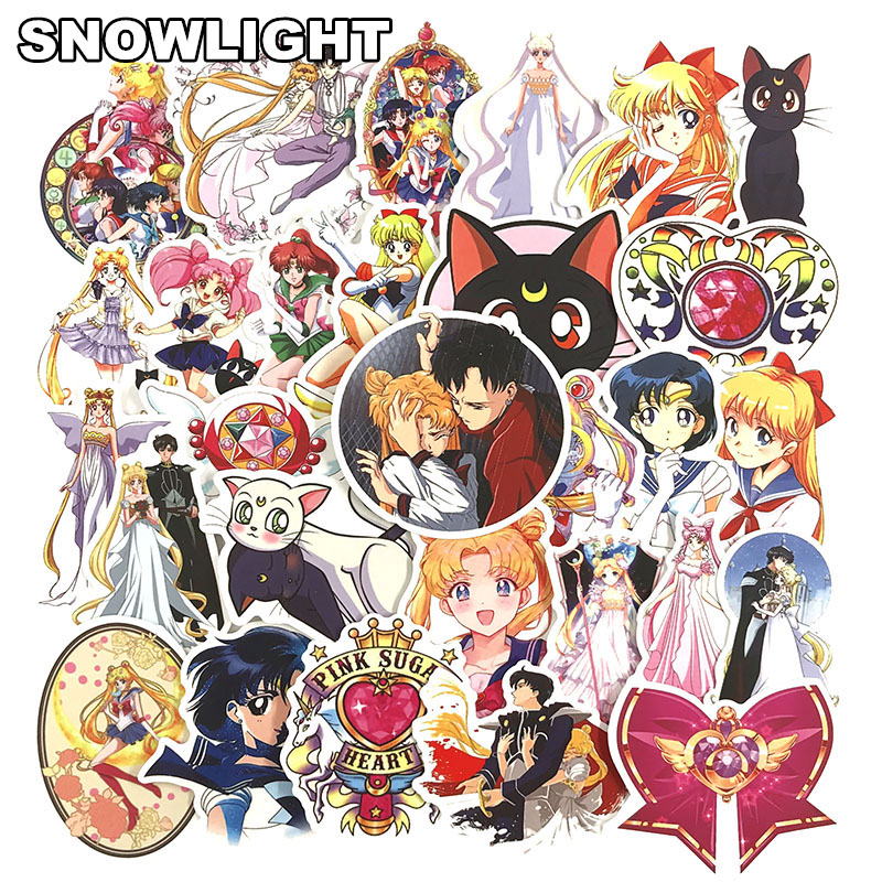 50 Pcs/Set Anime Sailor Moon Sticker Cartoon Waterproof Stickers For Laptop Suitcase Bicycle Toy Sticker For Kids