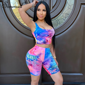 Simenual Tie Dye Casual Sporty Workout Women Matching Sets Sleeveless Slim Active Wear Tracksuits Crop Top And Biker Shorts Set
