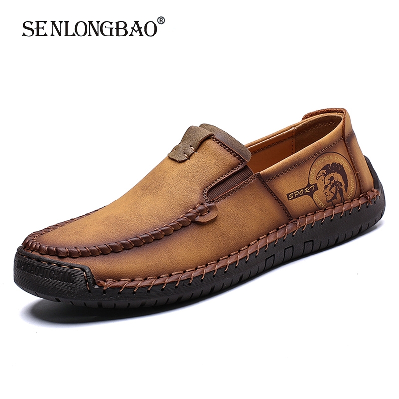 Brand New Spring Autumn Fashion Casual Men Shoes Men High quality Leather Shoes Men's Comfortable Flat Loafers Big Size 38-48