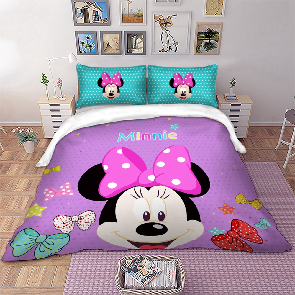 Disney Minnie Mouse Bedding Set Cartoon Minnie Duvet Cover Pillowcases Twin Full Queen King Size Kids Bedlinen Home Textiles