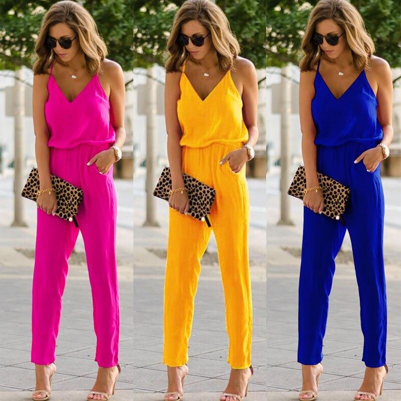 Fashion Women Sleeveless Jumpsuits Summer Spaghetti Strap Rompers V Neck Cotton Linen Club Long Pants Romper Trouser New 3Colors