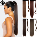 Long Corn Wavy Ponytail Synthetic Hairpiece Wrap on Clip Hair Extensions Ombre black Brown PonyTail Blonde Fack Hair