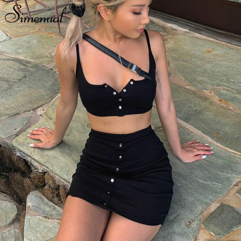Simenual Casual Button Solid Women Matching Set Skinny Bodycon 2020 Summer Two Piece Outfits Sleeveless Tank Top And Skirt Sets