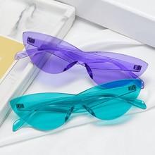 Gafas de sol de una pieza con diseño de ojo de gato para mujer, anteojos de sol femeninos de marca de diseñador, a la moda, Sexy, Retro, Estilo Vintage, coloridas, para conductores