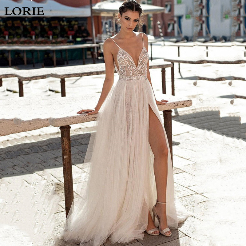 LORIE Sexy Spaghetti Straps Wedding Dress 2019 High Side Split Appliqued Lace Bridal  Dress Wedding Gowns Vestidos De Novia