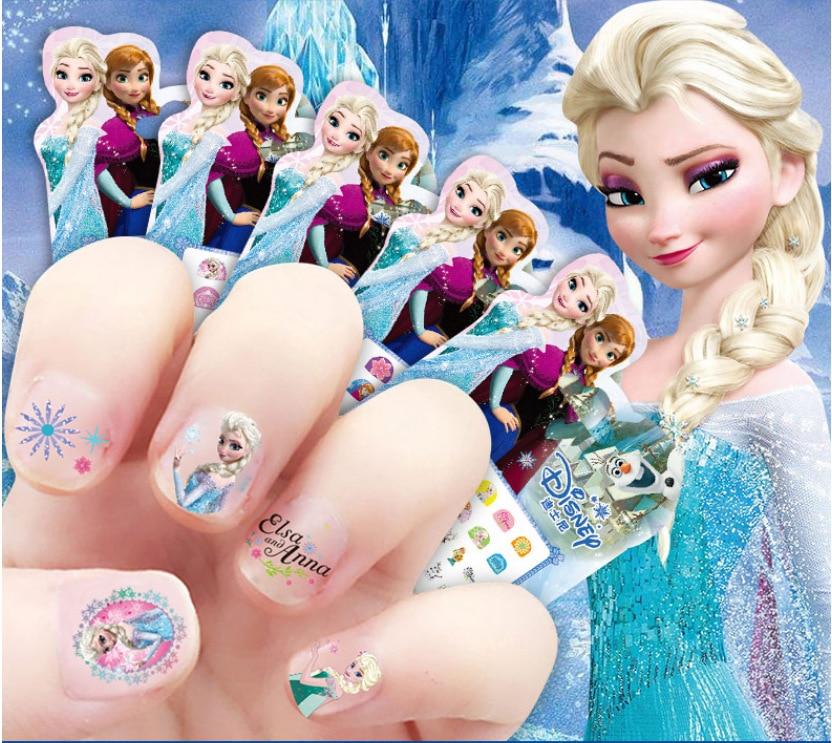 Girls Princess Frozen Elsa And Anna  Nail Stickers Disney Snow White Sophia Mickey Minnie Kids Makeup Toys