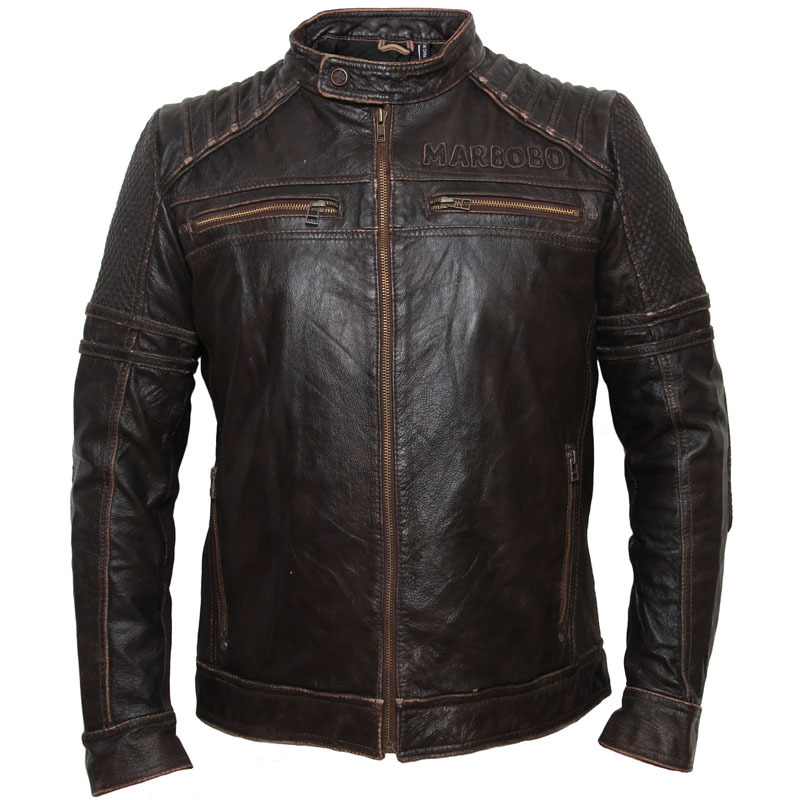 Genuine Cow Skin Vintage Motorcycle Men's Men Biker Jacket Male Leather Coat Winter 084