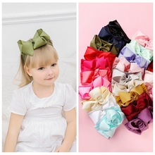 2019  Ribbon Big Bows wide Nylon Headbands Baby Girls Soft Elastic HeadBands Candy Colors Knot Bow Turban Hair Bands Accessories