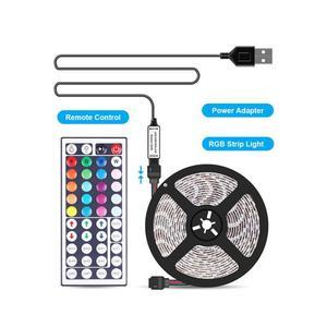 USB цветной Водонепроницаемый светодиодный ленточный светильник s 5V 1/2/3/4/5M 5050 RGB Цвет Изменение подсветки ТВ светильник полоса + 44K пульт диста...