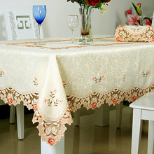 European Style Luxury Rural Embroidered Table Cloth Polyester Floral Crocheted Wedding Decor Tablecloth Rectangle Cover