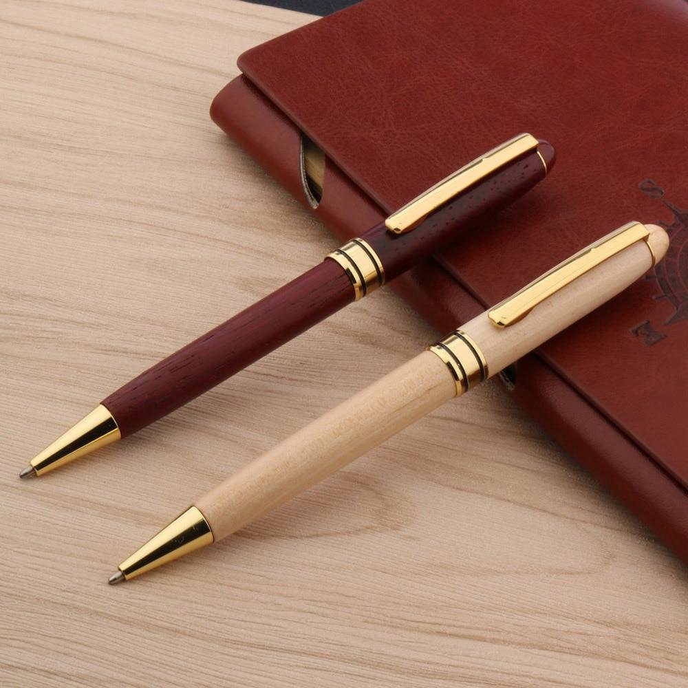 Высококачественная деревянная шариковая ручка красная белая ива деревянная Золотая шариковая ручка с зажимом канцелярские принадлежност...