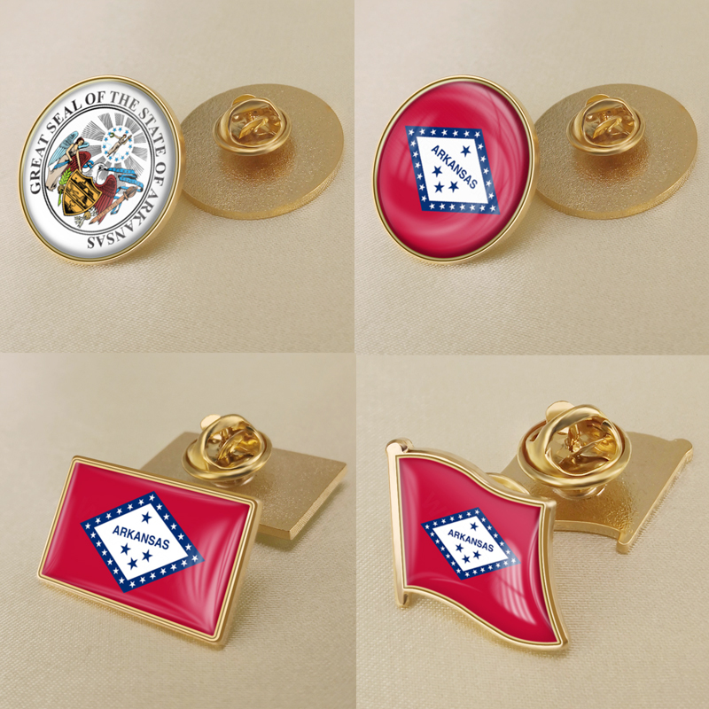 Seal of <font><b>Arkansa</b></font> State of United States of America Flag Lapel Pins/Broochs/Badges image