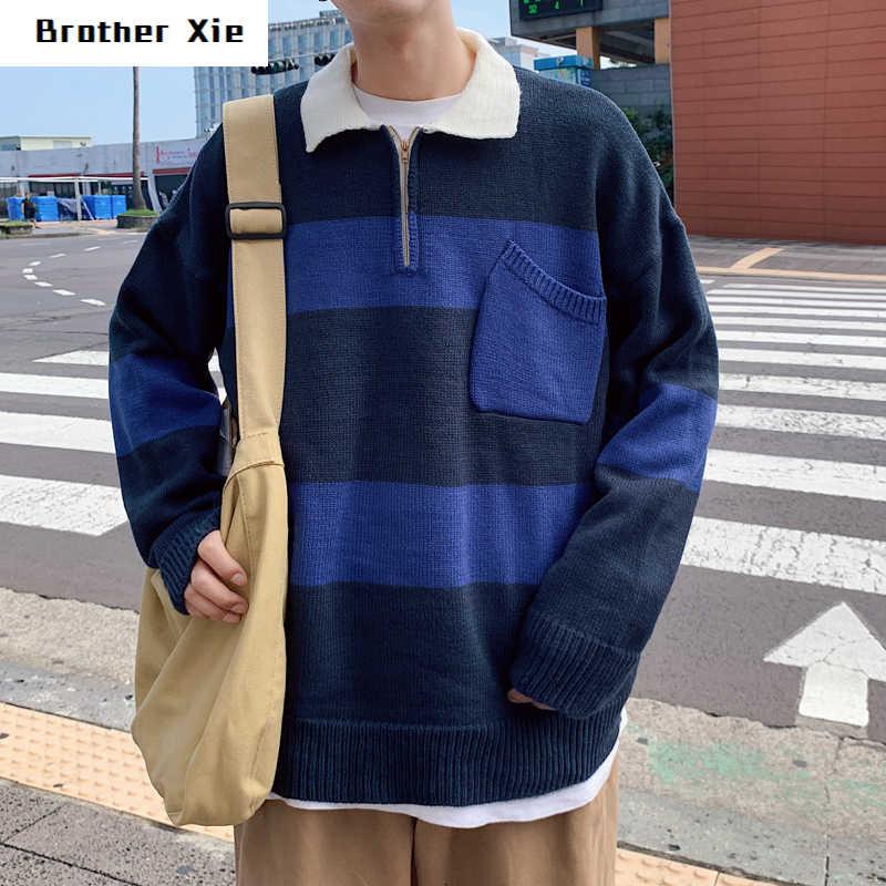 겨울 스트라이프 스웨터 남자의 따뜻한 패션 대비 컬러 캐주얼 옷깃 니트 스웨터 남자 야생 느슨한-긴팔 풀오버 남자