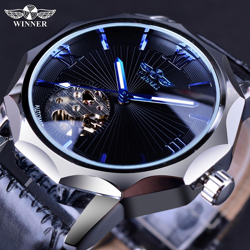 Vencedor azul oceano geometria design transparente esqueleto dial relógio masculino topo marca de luxo moda automática relógio mecânico