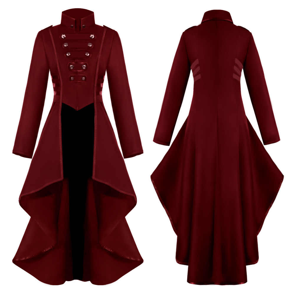 Steampunk Womens Military Coat Vintage Gothic Victorian Tailcoat Autumn Winter Ladies Army Uniform Jacket Medieval Long   Sleeve