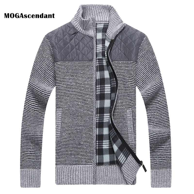 Men's Winter Knitted Fleece Sweater Coat Thick Patchwork Wool Cardigan Muscle Fit Knitted Jackets Fashion Autumn Male Clothing