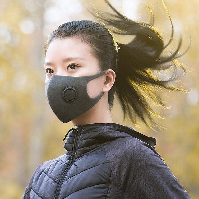 Xiaomi smartmi máscara protetora, máscara de rosto anti poluição esportiva pm2.5 ajustável, pendurada na orelha, design 3d