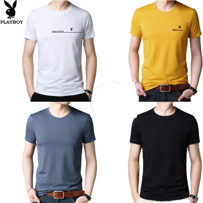 2020 New Playboy Breathable Casual Cotton Round Neck Fashion Men's T-shirt High-quality Short-sleeved Bottoming Shirt Clothes