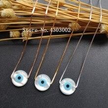 Промо-акция! 925 пробы серебряное круглое жемчужное ожерелье, регулируемое круглое голубое ожерелье от сглаза, кулон в виде швабры для подарка