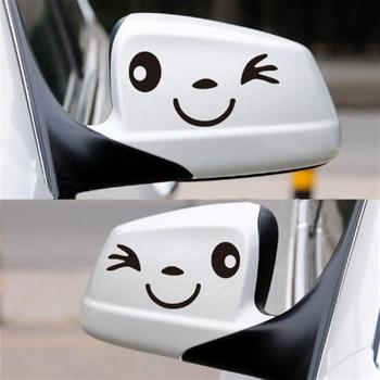 2 pcs Reflective cute smile car sticker rearview mirror sticker car styling Cartoon smiling eye face sticker Decal for all cars image