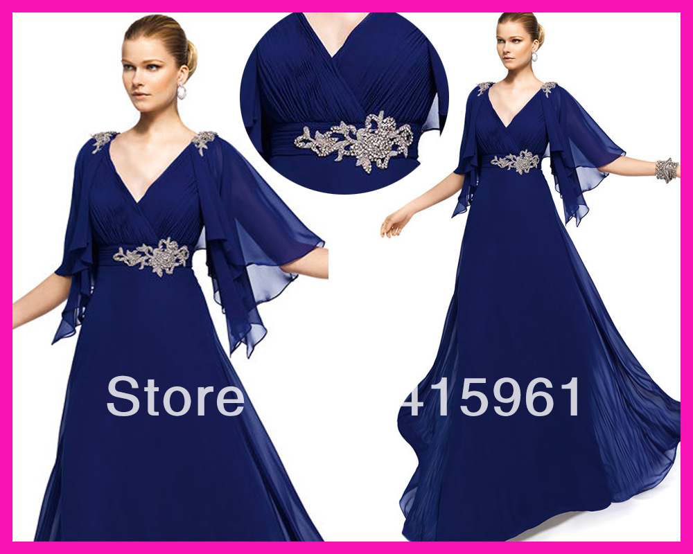 New Arrival Abiye Royal Blue V Neck Half Sleeves Full Length Chiffon Mother Evening Dresses 2019 Robe De Soiree Formal Dress