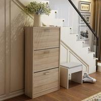 Wood 3 Drawer Wooden Shoe Storage Cabinet Cupboard Shoe Storage Organiser Unit Pull Down Wooden Home Furniture