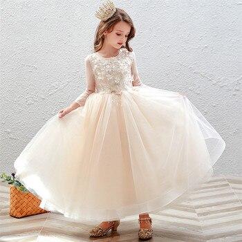 2019Autumn Spring Elegant Children Girls Appliques Flowers Birthday Wedding Party Princess Fluffy Dress Kids Costumes Dress Wear