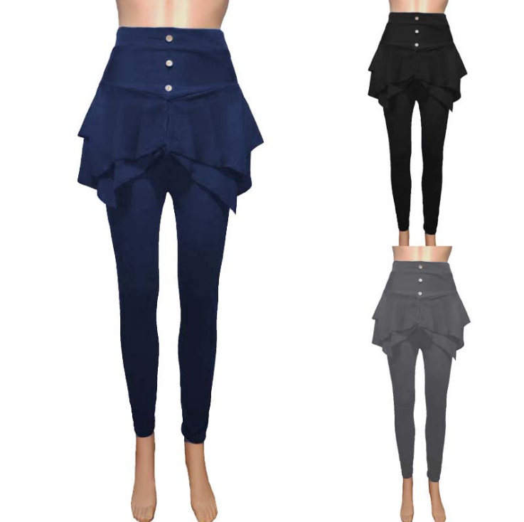 2020 European And American Autumn Women's New Amazon Casual Solid Color Slim Three Button Leggings Skirt Trousers
