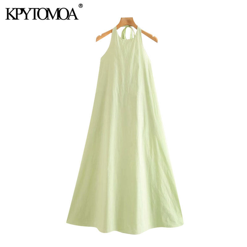 KPYTOMOA Women 2020 Elegant Fashion Solid Cozy Midi Halter Dress Vintage Sleeveless Backless Elastic Female Dresses Vestidos