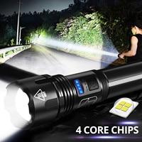 Linterna Led potente Xhp50, recargable vía Usb, resistente al agua, ultrabrillante, para viajes al aire libre, caza, nueva # h4