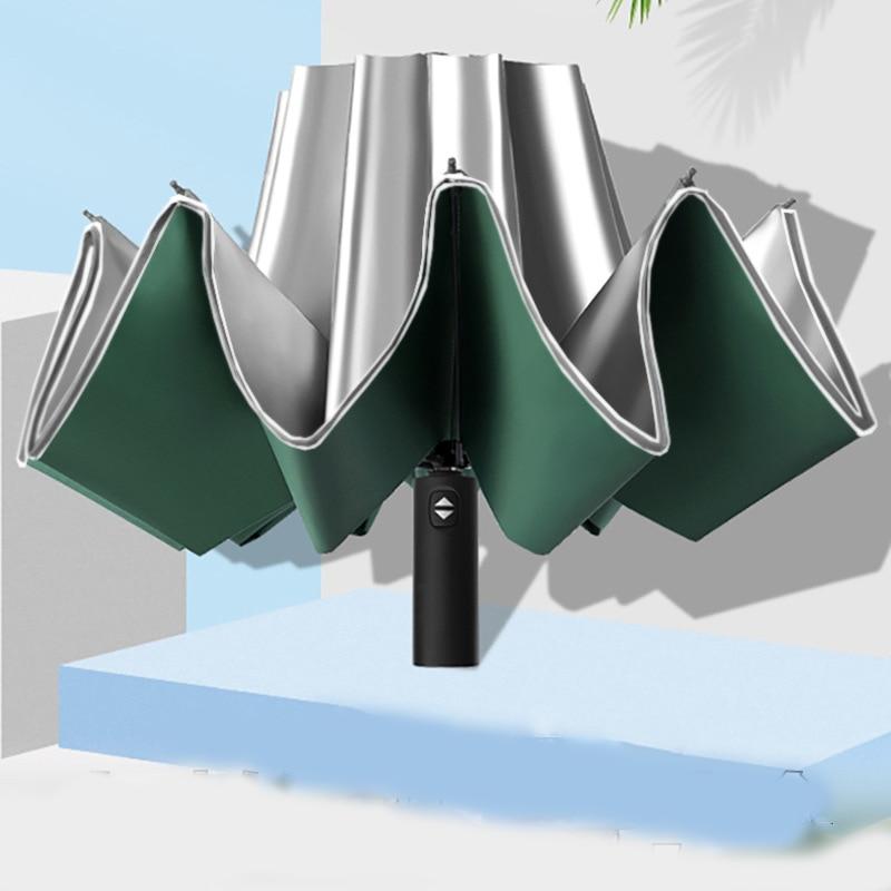 UV Protection Automatic Reverse Umbrella Ten Bone Vinyl Umbrella Folding Umbrella Rain Cabinet Men And Women Dual-Use Double