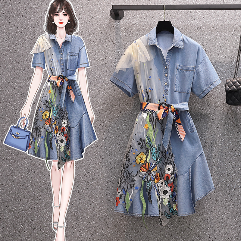2021 new women's summer embroidered Denim Skirt Chinese style beautiful embroidered dress loose waist large mesh stitching dress