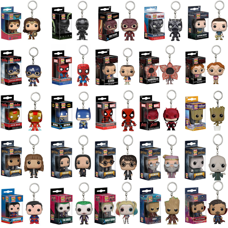 FUNKO POP Avengers Spiderman Captain Harri Potter Loki Grooted Action Figures Keychain Toy For Kids Gift