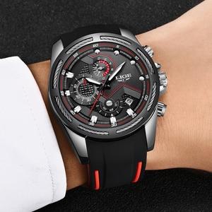 Image 3 - Relogio masculino 2019 lige novo relógio do esporte dos homens relógio de quartzo marca original dos relógios de aço inoxidável dial relógio à prova dwaterproof água