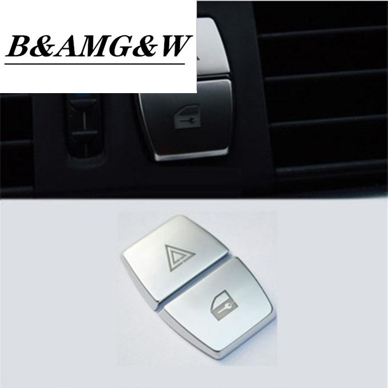 Car Styling Front Warning Light button Stickers Decorative Frame Cover Trim for BMW 5/6/7 series f10 GT F07 F01 auto Accessories image