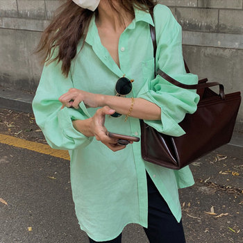 [EWQ] Spring 2021 Ladies Tops Lapel Single-breasted Loose Casual Long-sleeved Shirt Women Simple 1 Casual Green Blouse 1