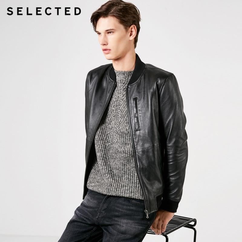 SELECTED Men's Sheep Wool Baseball Collar Leather Jacket S|419110501