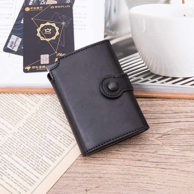 BISI GORO hommes RFID bouton crédit porte-carte de haute qualité en métal en aluminium Auto Pop-up RFID étui pour carte d'identité noir portefeuille porte-monnaie