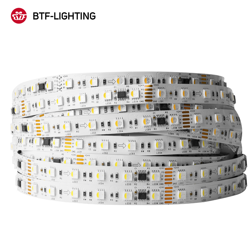 BTF512AC RGBW Led Strip Lights 5050 RGBCW RGBWW Lighting 4 Color in 1 LED 5pin 5M 60leds/m Pixels TM512AC 1 IC Control 6 LED 24V