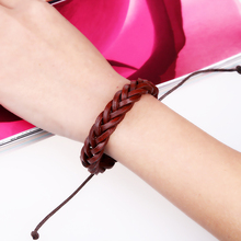 Punk style retro woven leather bracelet new European and American fashion personality retractable wild