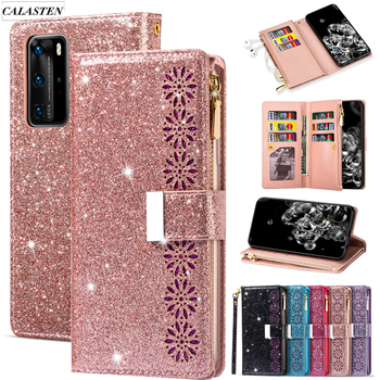 Bling Glitter Case For Huawei P40 Lite P30 P20 Pro Lite P Smart 2019 Mate 20 10 Pro Y7 Y6 Zipper Leather Wallet Flip Cards Cover
