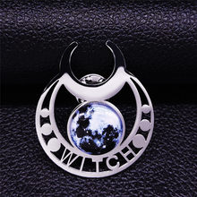 2021 Witchcra Witch Moon Glass Stainless Steel Pin Badge Women/Men Silver Color Brooch Jewelry broche channel X2004S05