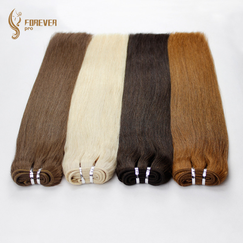 Para sempre pro cabelo 100 g/pc real europeu em linha reta tecer cabelo humano pacotes 16 Polegada platina loira cor remy trama extensão do cabelo