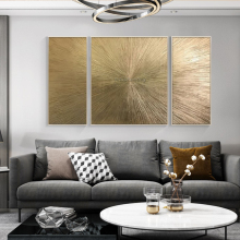 Geometric hand painted gold canvas painting abstract acrylic wall art home decor pictures for living room bilder abstractos