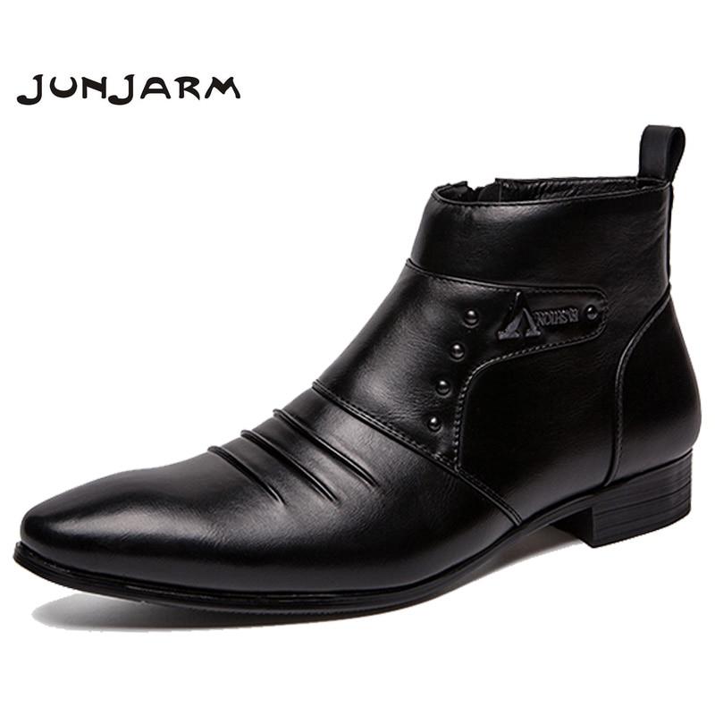 JUNJARM 2019 Genuine Leather Boots Men High Men Ankle Boots British Fashion Men Chelsea Boots Fashion Style Men Shoes