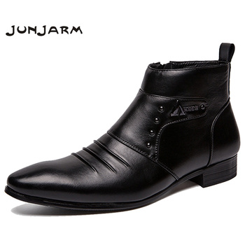 men JUNJARM Genuine Leather Boots Men Ankle Boots Men High British Fashion Men Chelsea Boots Fashion Style Men Shoes