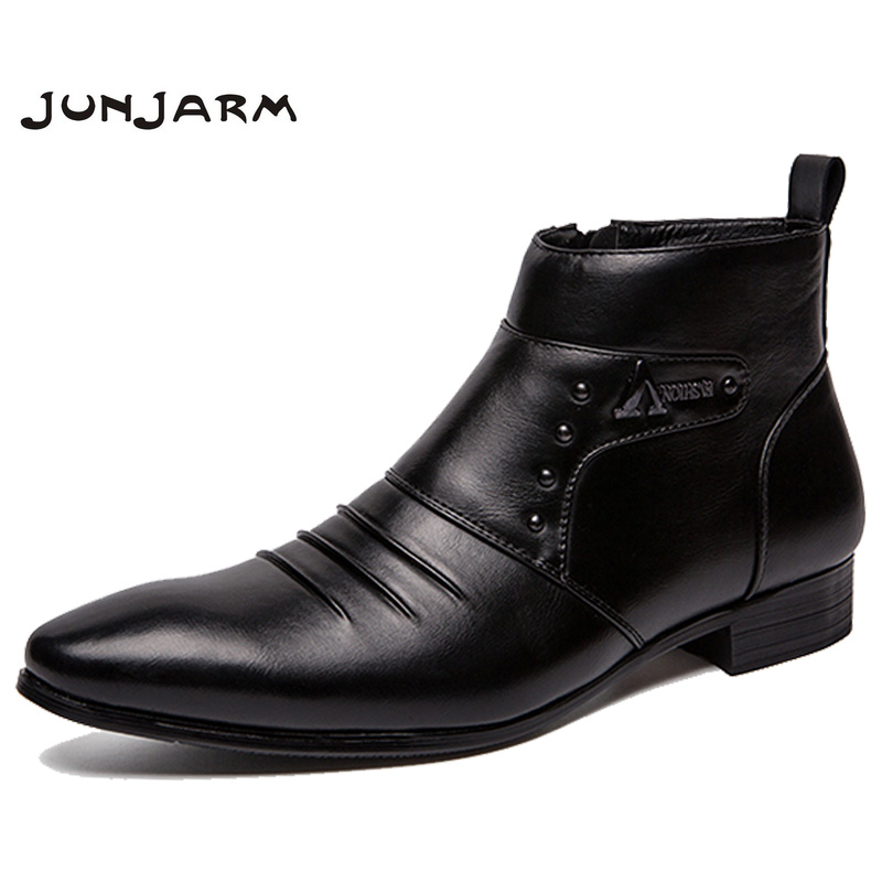 JUNJARM Genuine Leather Boots Men High Men Ankle Boots British Fashion Men Chelsea Boots Fashion Style Men Shoes